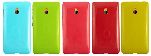 emartbuy® Microsoft Lumia 640 XL 3G 4G LTE/Lumia 640 XL 3G 4G LTE Dual SIM Glänzend Gloss Gel Skin Tasche Hülle Packung 5 - Hot Rosa, Rot, Blau, Gelb, Grün