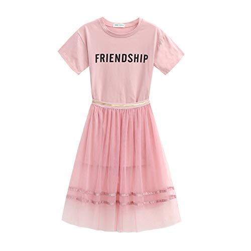 Gyratedream Zomer Baby Meisje Korte Mouw Letter Print Katoen T-shirt Blouse + Mesh Rokken Casual Outfits Set voor 3-12 Jaar Oude Meisje