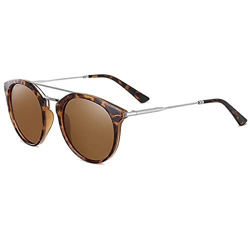 AMFG Gafas de sol polarizadas de marco redondo. TR Gafas de metal Mujeres para mujer Gafas de sol de conducción al aire libre (Color : A)
