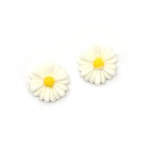 Idin Orecchini a clip - Margheritina bianchi (piccolo) (ca. 13 x 13 mm)