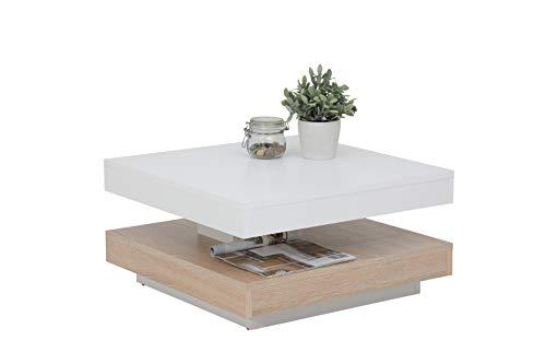 Couchtisch Andy, Holzwerkstoff ,Tischplatte drehbar 360°, Weiß/Sonoma Eiche, 67x67x35cm