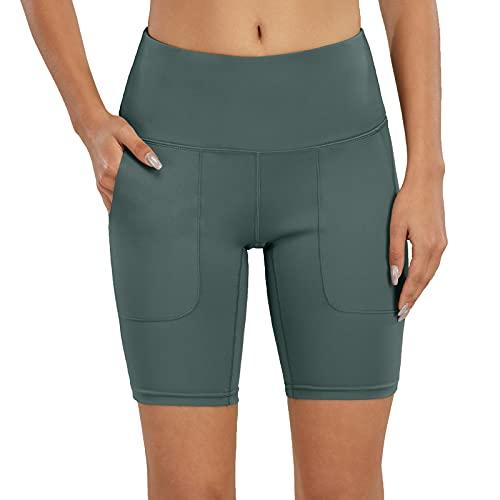 scicent Pantalones cortos de deporte para mujer, de un solo color, sueltos, tallas 32, 34, 36, 38, 40, 42, 44, 46, 48, verde, 42-44
