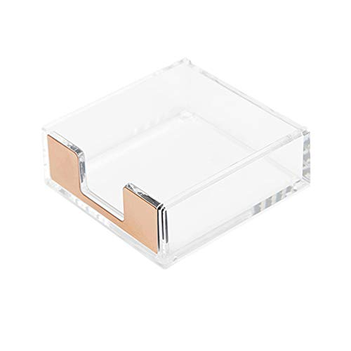 Clear Acrylic Gold Self Stick Memo Pad Holder 5mm Super Thick Notes Cards Cube Dispenser Case 3.5x3.3 Inch for Office Home School Elegant Desk Accessory (Gold Tone)