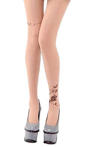 Screenes Damas Con Patrón Medias Flores Medias Damas Transpirables Tatuaje Moda Estilo Simple Joven Transparente