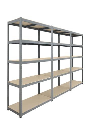 Storage Affairs Extra Heavy Duty Shelving: 3 Units, 176x90x45 (cm) | 265kg Per Shelf | Grey, 5 Tier...