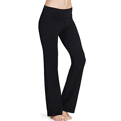 Women's Bootcut Yoga Pantswith Pockets Regular Tall High Waisted Yoga Bootleg Stretchy Pants Tummy Control Trousers Bottoms Lounge Wear Sweatpants Running Joggers for Fitness Sports (L)