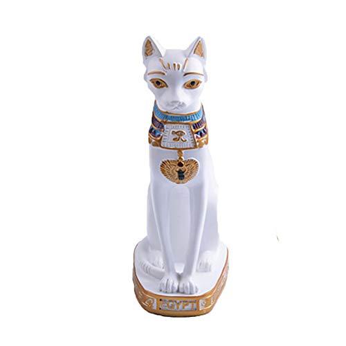 JJZS Desktop-Dekoration Weiße Katzenstatue Der Maskottchenskulptur Tierischen Schwarzen Katze, Die Für Inneneinrichtungverzierungsharz Benutzt Wird, Macht Hauptstatue In Handarbeit