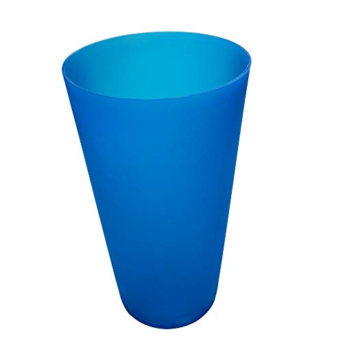 Large Cups 32-ounce Plastic Tumblers BPA-free Reusable Dishwasher Safe Blue Color Set of 12 for Kids Women Men