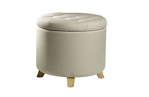 ECHTWERK Sitzhocker mit Stauraum, Stoff, Creme, 45 x 45 x 41 cm