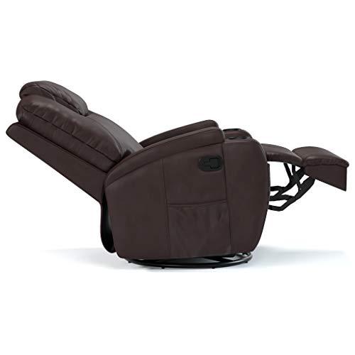 Poltrona do Papai Reclinável com Massageador em Courino Marrom Reclinação manual Modelo Colton marca Damie
