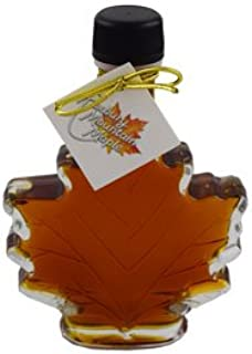 Organic Maple Syrup in Glass Maple Leaf, Roxbury Mountain Maple, 100 Milliliter