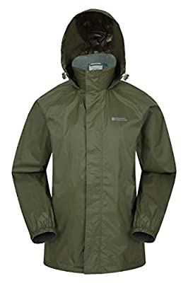 Mountain Warehouse Pakka Mens Waterproof Rain Jacket - Packable Khaki Large from Mountain Warehouse