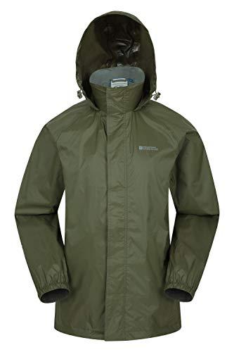 Mountain Warehouse Pakka Mens Waterproof Packable Jacket - Foldaway Hood Rain Jacket, Pack Away Mens Coat, Lightweight Raincoat - for Travelling, Outdoor, Camping