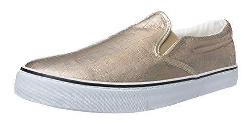 Fitters Footwear That Fits Donne Scarpe da Tennis Sally Sintetico Slip-on Look Metallico (44 EU, Bronzo)