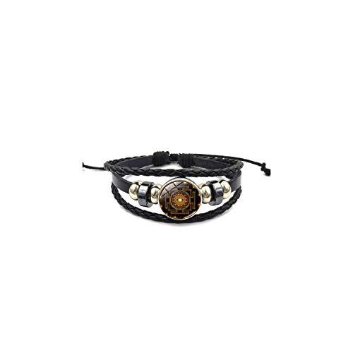 Armband Armreif, Schmuckgeschenk,Fashion Vintage Sri Yantra Bracelet Men Women Braided Leather Weave Handmade Rope Charm Bracelets & Bangles Style 1