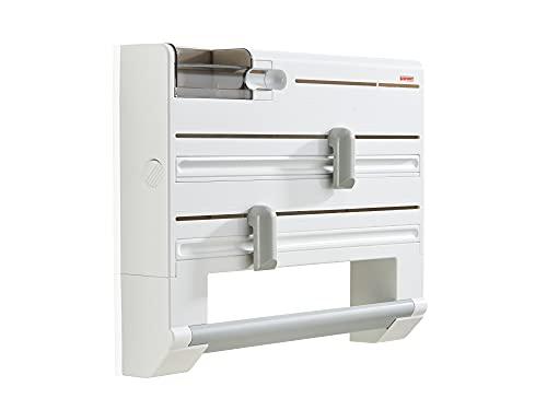 Leifheit Portarrollos de pared Parat Plus ComfortLine, porta rollos para papel de cocina, de aluminio, film y bolsas para congelar, soporte de pared