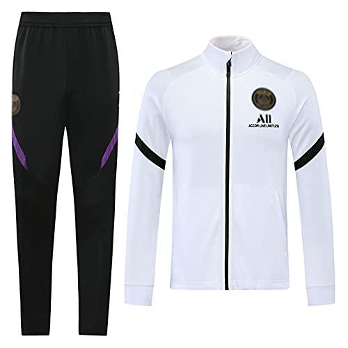 WZH-ZQQY Traje De Entrenamiento De Fútbol del Club De Campeonato Europeo Traje De Deporte Transpirable para Hombres (Chaqueta + Pantalones) -kpl-c1494(Size:Metro,Color:Blanco)