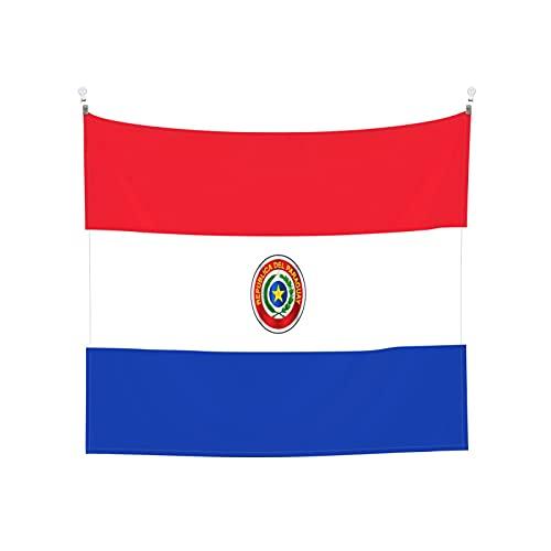 Paraguay-Flaggen Tapisserie Wandbehang Tarot Boho Beliebte Mystic Trippy Yoga Hippie Wandteppiche für Wohnzimmer Schlafzimmer Wohnheim Heimdekor Schwarz & Weiß Stranddecke