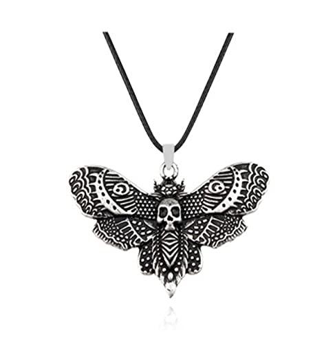 Collar de mariposa de calavera con diseño de mariposa de hoja muerta de insecto, colgante de dos colores, joyería de moda diaria de la calle, cientos de personas a juego