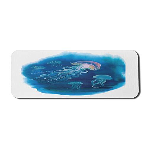 Quallen Computer Mouse Pad, Schwimmen Quallen im Meer Natürliche Wildtiere Urlaubsziele Kunst Design, Rechteck rutschfeste Gummi Mousepad Large Blue Pink