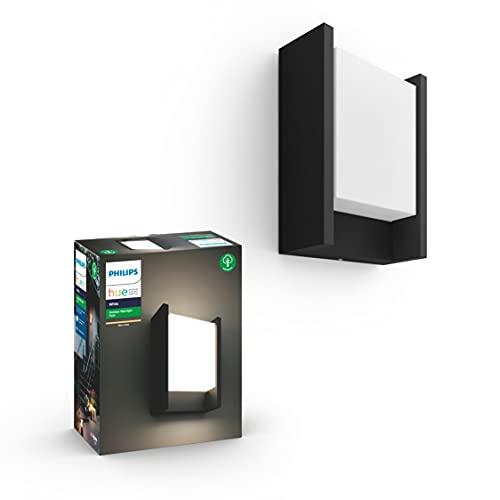 Philips Hue Fuzo Aplique exterior negro LED inteligente, luz blanca cálida regulable, compatible con Amazon Alexa, Apple HomeKit y Google Assistant