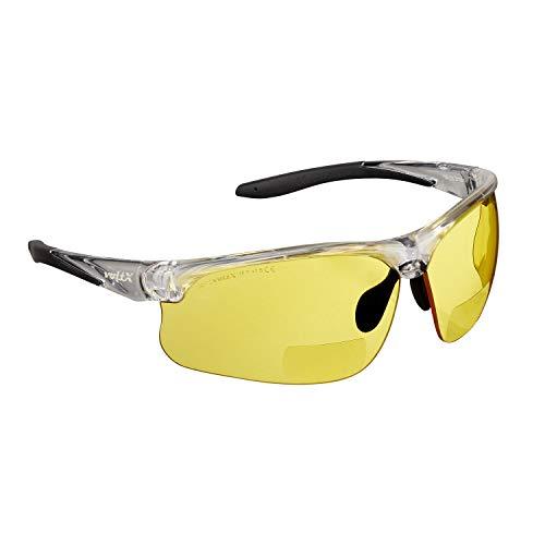 """Bifokale Schutzbrille mit Lesehilfe voltX """"Constructor Ultimate"""" (transparenter Rahmen, gelbe Gläser +2,0 Dioptrien) CE EN166FT-zertifiziert – Bifokale Rad-/Sportbrille Premium – UV400 Linse"""