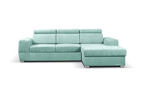 Ecksofa mit Schlaffunktion mit Bettkasten Sofa Couch L-Form Polstergarnitur Wohnlandschaft Polstersofa mit Ottomane Couchgranitur mit Bettfunktion - Aldo mini (Mintgrün ( Primo 72), Ecksofa Rechts)