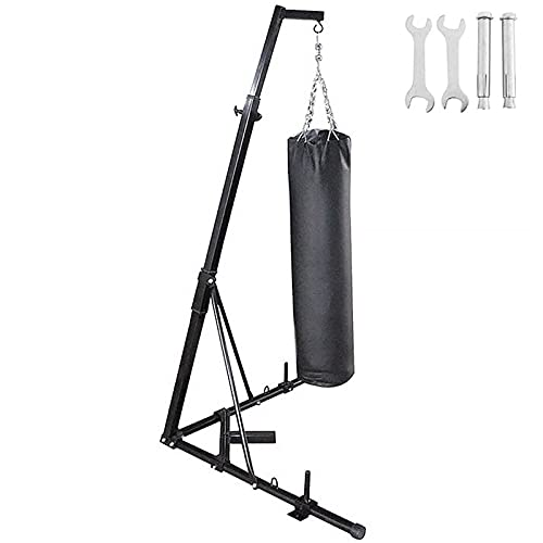 BotaBay Upgrate Folding Boxing Heavy Bag Stand Height Adjustable Sandbag Rack Portable 330LB Heavy Duty Punch Bag Stand Free Standing for Home(ONLY Stand)