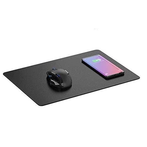 Tapis de Souris Induction XL - Chargeur sans Fil pour Smartphone - Technologie de Charge Qi - Tapis de Souris Antidérapant en Tissu de Soie Glacée - 30x20 cm