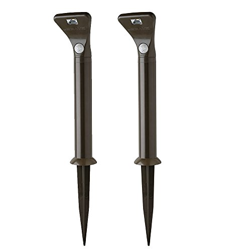 Mr. Beams MB592 Outdoor Wireless Motion Sensing 80-Lumen LED Path Lights with Ground Stakes, Dark Brown, 2-pack