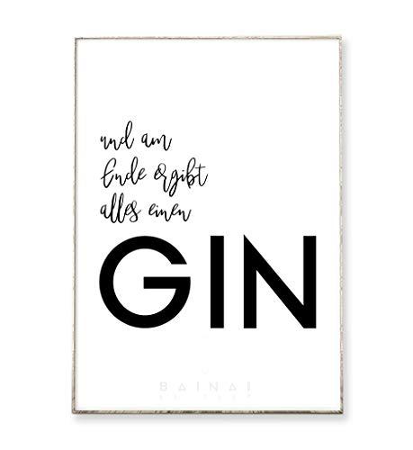 DIN A4 Kunstdruck Poster GIN°2 -ungerahmt- Typografie, Schrift, Text, Spruch, Gin, Bild, Küche