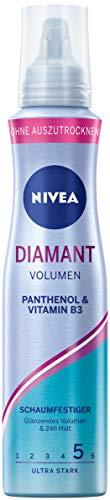 NIVEA Diamant Volumen Schaumfestiger Ultra Stark (150 ml), pflegender Haarschaum mit Panthenol & Vitamin B3, Volumenschaum für glänzende Stylings mit 24h Halt