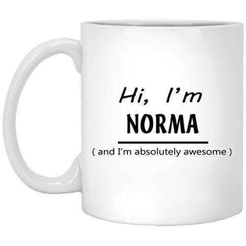 N\A Personalisierte Tasse Tasse für Männer, Frauen - Hallo, ich Bin Norma und ich Bin absolut fantastisch Kaffee-Tee-Tassen für Enkel, Freund am Vatertag - Weiße Keramik 11 Unzen