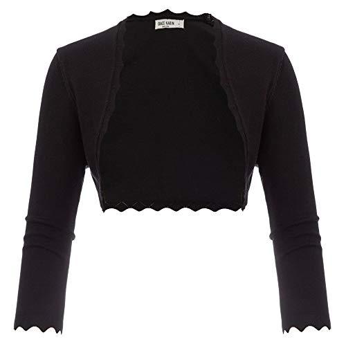 GRACE KARIN Bolero de Mujer con Parte Delantera Abierta En Abrigo de Ligero Color Negro S CL10960-1