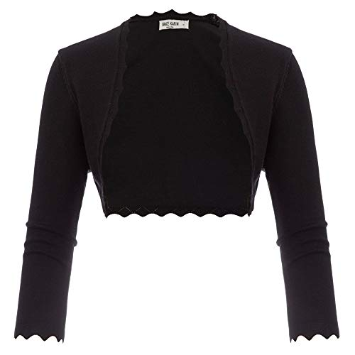 GRACE KARIN Damen Cropped Knit Bolero für Kleid Open Front Kurz Strickjacke Elegant Cardigan M CL960-1