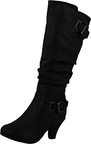 TOP Moda Womens Bag-55 Knee High Buckle Slouched Kitten Heel Boots, Black 7.5