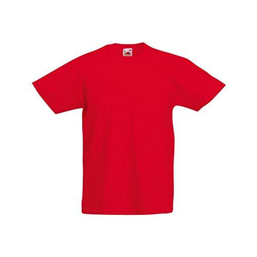 Fruit of the Loom - Camiseta de Manga Corta Original niños (9-11 años/Rojo)