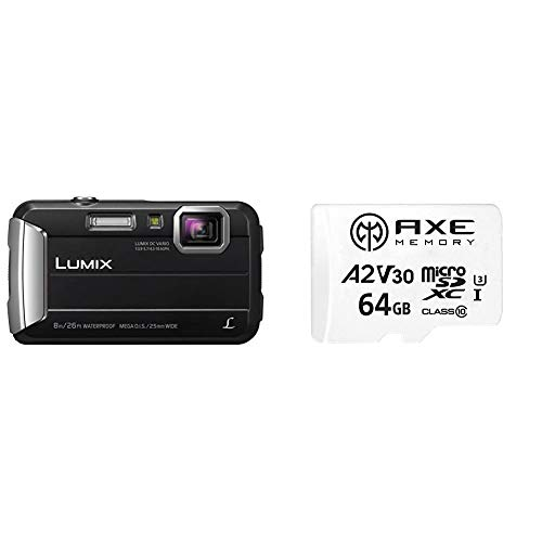 Panasonic LUMIX DMC-FT30EG-K Outdoor Kamera (schwarz) + Axe 64 GB MicroSDXC Speicherkarte + SD-Adapter mit A2 App Performance, V30 UHS-I U3 4K Ultra HD Klasse 10