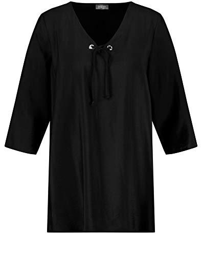 Samoon Damen Tunika mit Schnürung am Ausschnitt leger, leicht ausgestellt Black 48