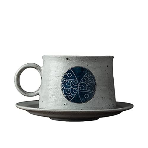 Taza de Latte Art Copa de té hecho a mano y platillo de taza de café, 6 oz Conjunto de 1 taza de café de cerámica de cerámica europea taza de café / taza de té azul conjunto de café para la fiesta de