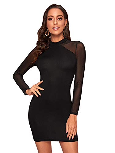 Romwe Women's See Through Mesh Long Sleeve Stretch Bodycon Dress Without Camisole
