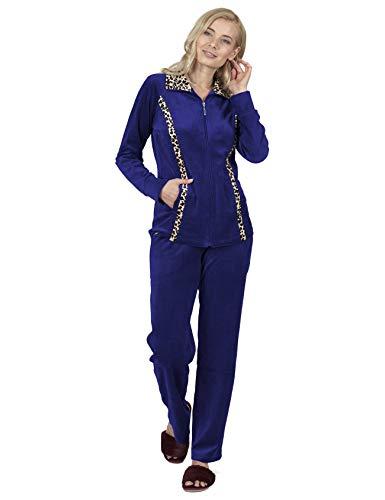 RAIKOU Damen Hausanzug Velours Nicki Trainingsanzug Freizeitanzug mit Reißverschluss (Royal Blau,40/42)