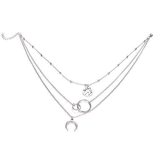 Nueva moda retro Luna Mundo Mapa Círculo Colgante multicapa oro Colodr Collar Partido Charm Joyería Accesorios Para Mujeres