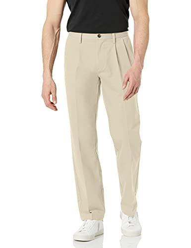 Amazon Essentials Men's Classic-Fit Wrinkle-Resistant Pleated Chino Pant, Khaki, 34W x 29L