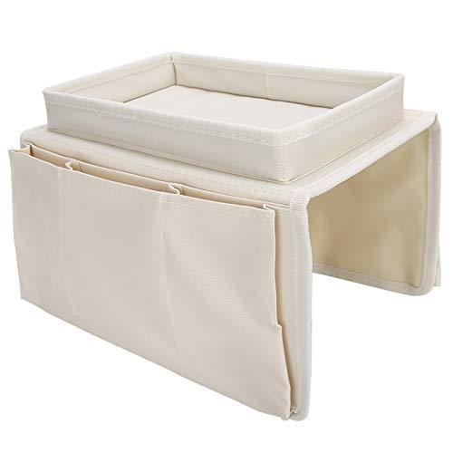 Les-Theresa 4 Bolsillos sofá reposabrazos TV Mando a Distancia Organizador sillón sofá Bolsa con Bandeja portavasos(Beige)