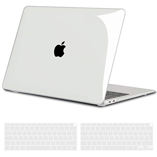 TECOOL Custodia MacBook Air 13 Pollici 2020 2019 2018 (Modello: A2337 M1/A2179/A1932), Plastica Case Cover Rigida Copertina con Copritastiera in Silicone per MacBook Air 13.3 Touch ID - Trasparente