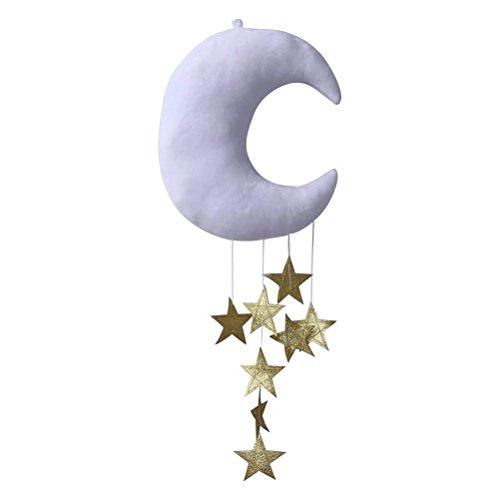 VORCOOL Hänge Deko Weiß Mond Golden Sterne Baby Mobile Decke Fenster Wand Hängende Kinderzimmer Dekoration