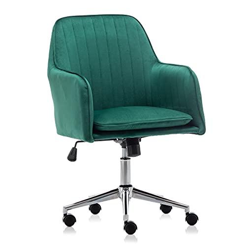 Hironpal Vlof Velvet Office Chair Ergonomic for Home (Green)