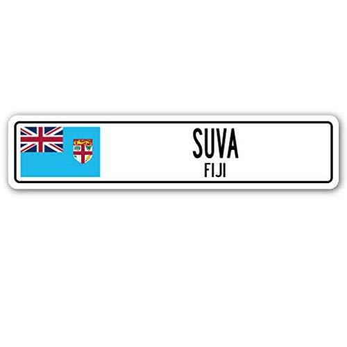 TNND New SUVA Fiji Straßenschild, Fidschi-Flagge, Stadt Land Straße, Straßenschild, 10,2 x 40,6 cm