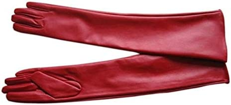 Faux Leather Elbow Gloves Winter Women's Long Gloves Warm Lined Finger Gloves - (Color: Red, Gloves Size: XL)